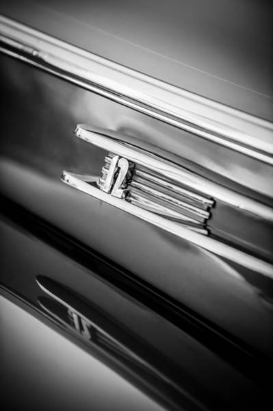 Photograph - 1942 Lincoln Zephyr Coupe Emblem -1215bw by Jill Reger