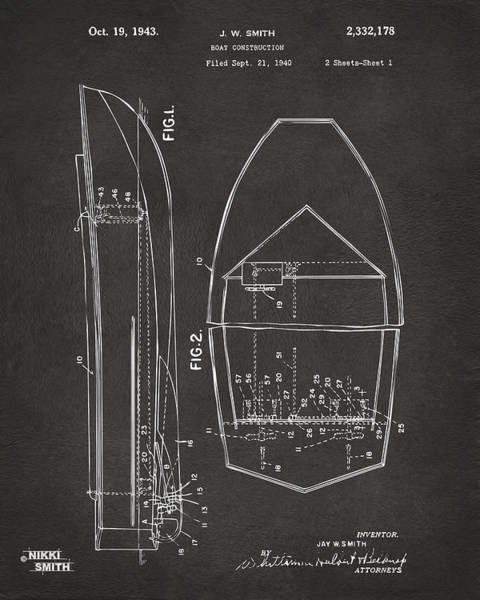 Cross Section Digital Art - 1943 Chris Craft Boat Patent Artwork - Gray by Nikki Marie Smith