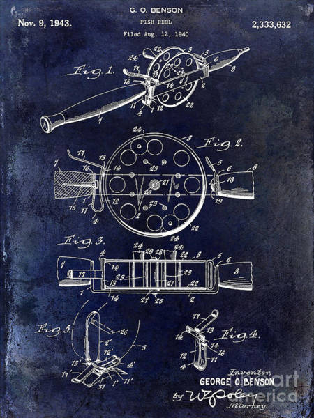 1943 Fishing Reel Patent Drawing Blue Art Print