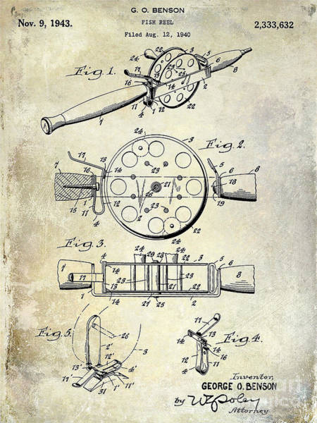 1943 Fishing Reel Patent Drawing Art Print