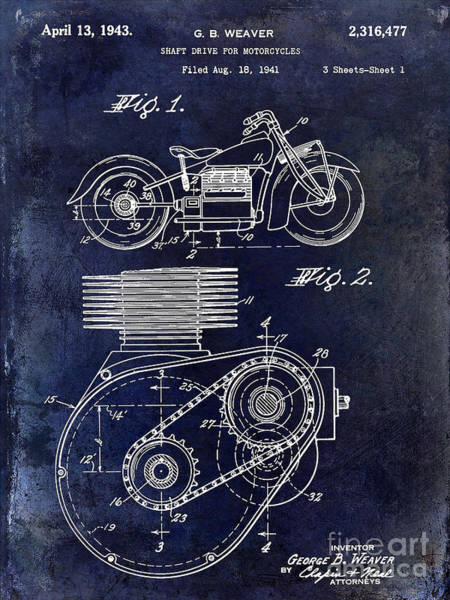 Victory Motorcycle Photograph - 1943 Indian Motorcycle Patent Drawing Blue by Jon Neidert