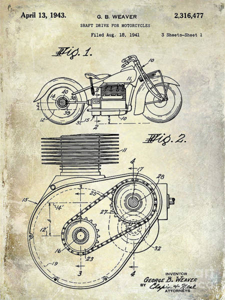 Victory Motorcycle Photograph - 1943 Indian Motorcycle Patent Drawing by Jon Neidert