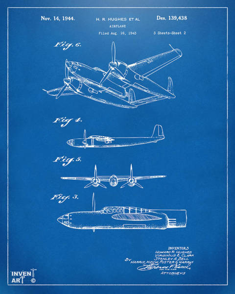 Wall Art - Digital Art - 1944 Howard Hughes Airplane Patent Artwork 2 Blueprint by Nikki Marie Smith