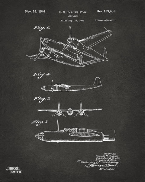 Cross Section Digital Art - 1944 Howard Hughes Airplane Patent Artwork 2 - Gray by Nikki Marie Smith