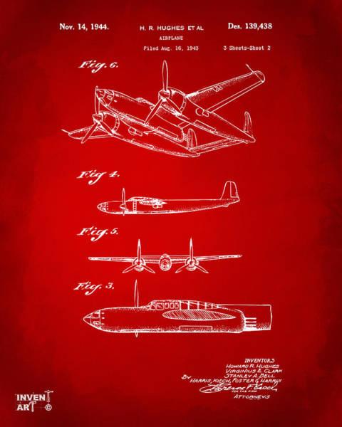 Wall Art - Digital Art - 1944 Howard Hughes Airplane Patent Artwork 2 Red by Nikki Marie Smith