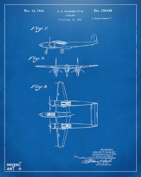 Wall Art - Digital Art - 1944 Howard Hughes Airplane Patent Artwork 3 Blueprint by Nikki Marie Smith