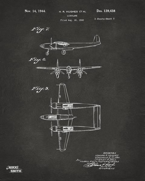 Wall Art - Digital Art - 1944 Howard Hughes Airplane Patent Artwork 3 - Gray by Nikki Marie Smith