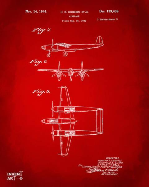 Wall Art - Digital Art - 1944 Howard Hughes Airplane Patent Artwork 3 Red by Nikki Marie Smith