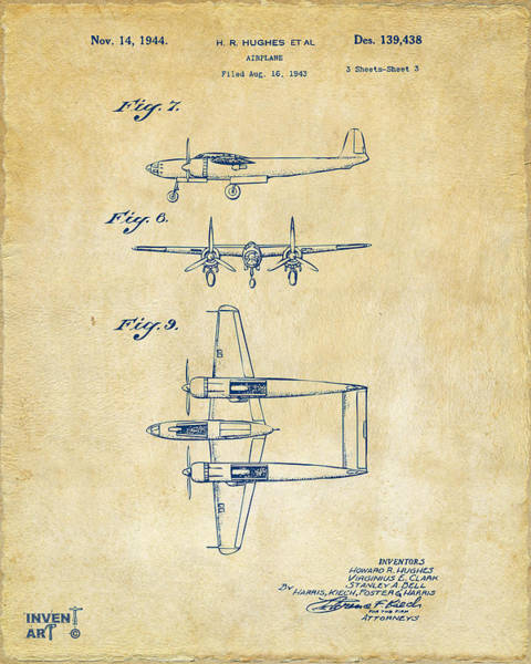 Wall Art - Digital Art - 1944 Howard Hughes Airplane Patent Artwork 3 Vintage by Nikki Marie Smith