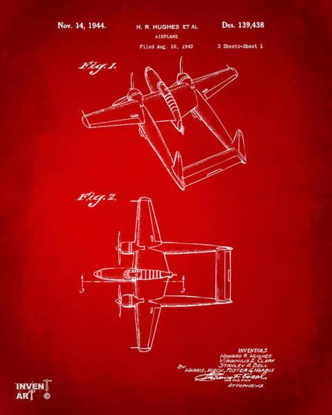 Wall Art - Digital Art - 1944 Howard Hughes Airplane Patent Artwork Red by Nikki Marie Smith
