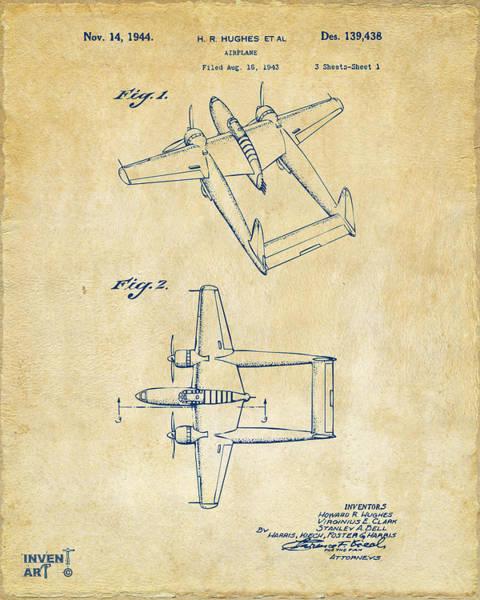 Wall Art - Digital Art - 1944 Howard Hughes Airplane Patent Artwork Vintage by Nikki Marie Smith