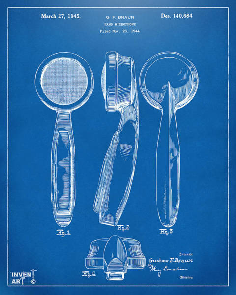 Digital Art - 1944 Microphone Patent Blueprint by Nikki Marie Smith