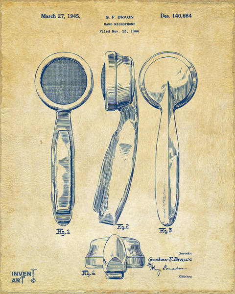 Digital Art - 1944 Microphone Patent Vintage by Nikki Marie Smith