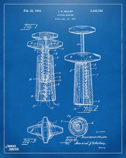 Wall Art - Digital Art - 1944 Wine Corkscrew Patent Artwork - Blueprint by Nikki Marie Smith