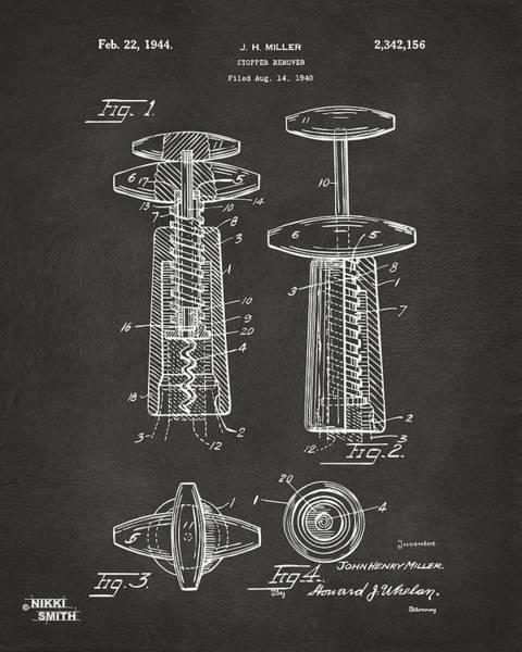 Wall Art - Digital Art - 1944 Wine Corkscrew Patent Artwork - Gray by Nikki Marie Smith
