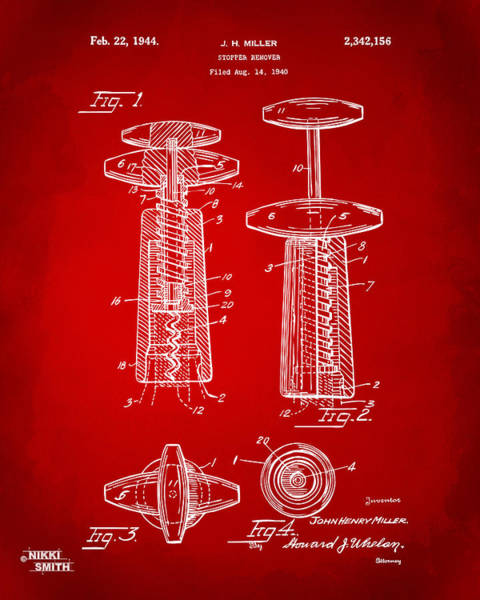 Wall Art - Digital Art - 1944 Wine Corkscrew Patent Artwork - Red by Nikki Marie Smith