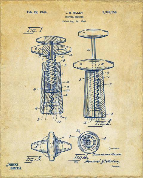 Corkscrew Wall Art - Digital Art - 1944 Wine Corkscrew Patent Artwork - Vintage by Nikki Marie Smith