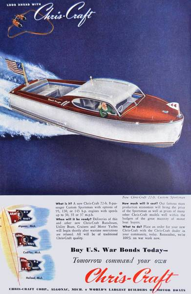 Sportsman Digital Art - 1945 - Chris Craft Power Boat Advertisement - Color by John Madison