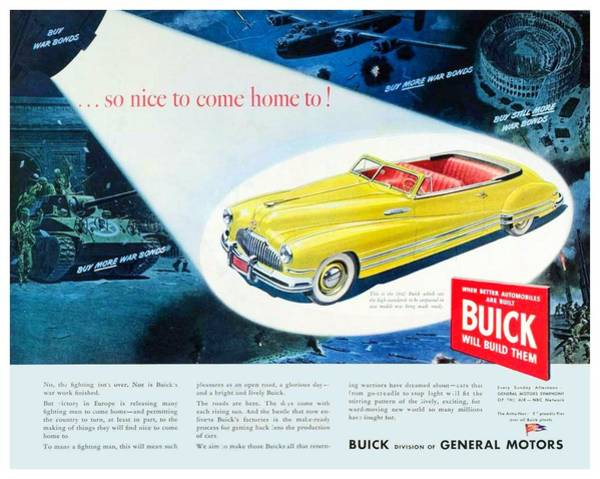 War Bonds Digital Art - 1945 - Buick - World War II - War Bonds - Color by John Madison