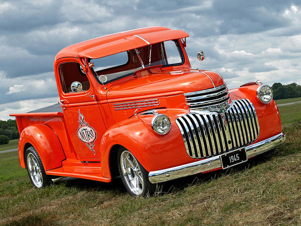 Photograph - 1945 Chevy In Orange by Gill Billington