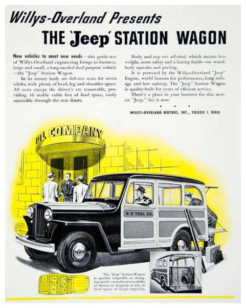 Wagon Digital Art - 1946 - Willys Overland Jeep Station Wagon Advertisement - Color by John Madison