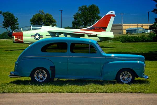 Photograph - 1946 Ford Sedan In Front Of A7 Corsair by Tim McCullough