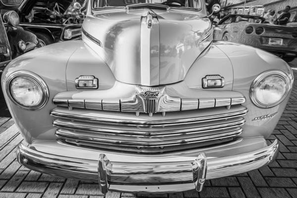 1940 Ford Coupe Photograph - 1946 Ford Super Deluxe Coupe Bw   by Rich Franco