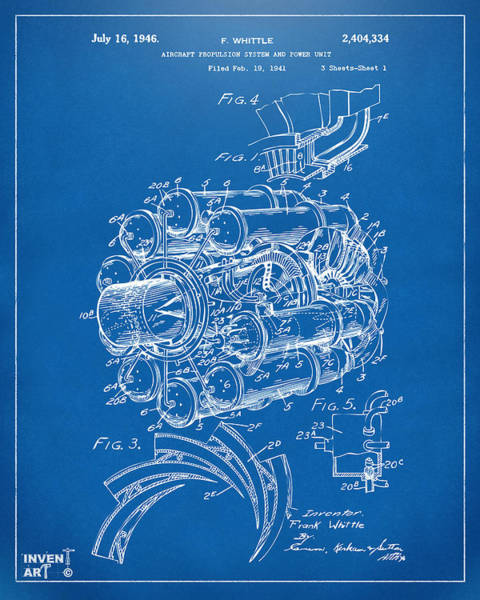 Wall Art - Digital Art - 1946 Jet Aircraft Propulsion Patent Artwork - Blueprint by Nikki Marie Smith