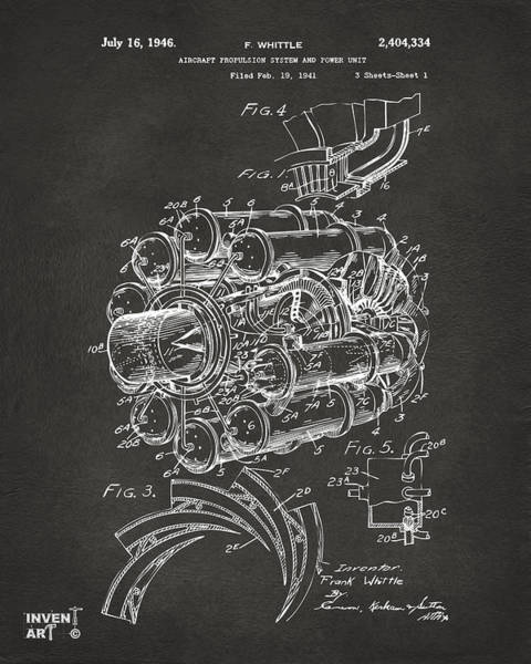 Wall Art - Digital Art - 1946 Jet Aircraft Propulsion Patent Artwork - Gray by Nikki Marie Smith