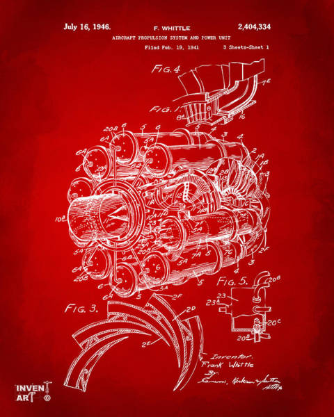 Wall Art - Digital Art - 1946 Jet Aircraft Propulsion Patent Artwork - Red by Nikki Marie Smith