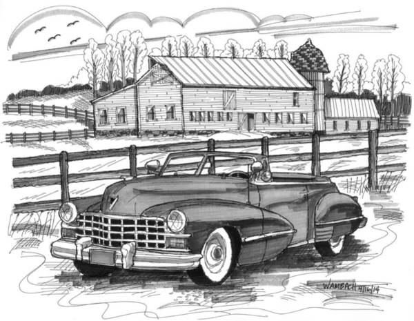 Drawing - 1947 Cadillac Model 52 by Richard Wambach