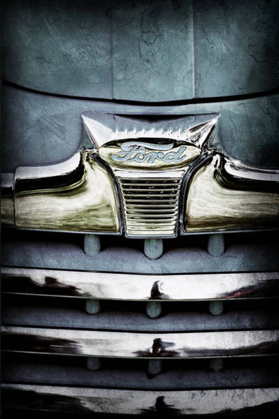 1947 Photograph - 1947 Ford Deluxe Grille Emblem by Jill Reger