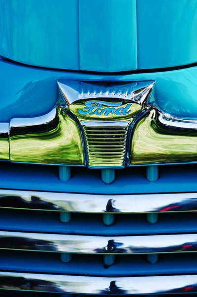 Convertible Photograph - 1947 Ford Deluxe Grille Ornament -0700c by Jill Reger