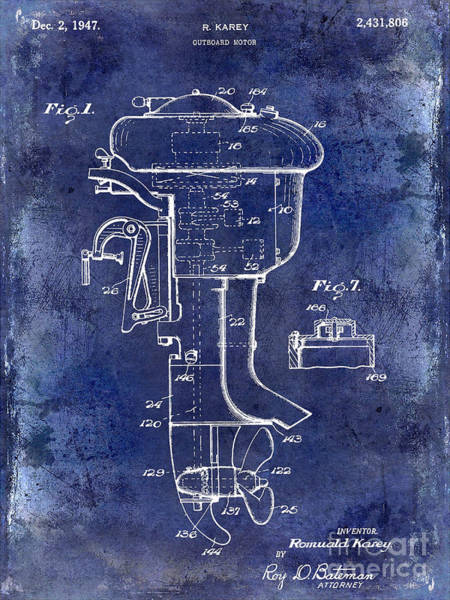 Wall Art - Photograph - 1947 Outboard Motor Patent Drawing Blue by Jon Neidert