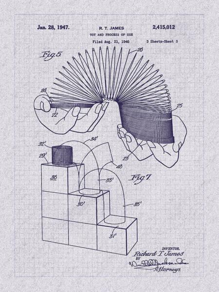 Digital Art - 1947 Slinky Patent Art by Barry Jones
