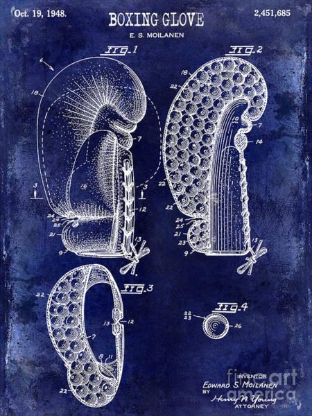 Boxing Photograph - 1948 Boxing Glove Patent Drawing Blue by Jon Neidert