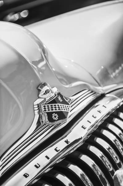 Photograph - 1948 Buick Roadmaster Convertible Grille Emblem -0725bw by Jill Reger