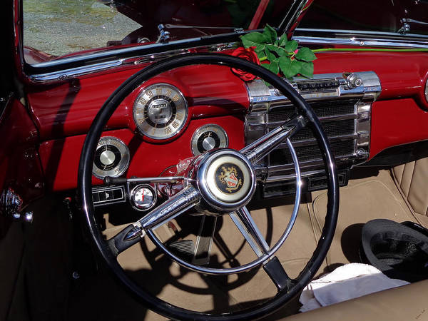 Photograph - 1948 Buick Roadmaster Red Convertible Dashboard by Kathy K McClellan