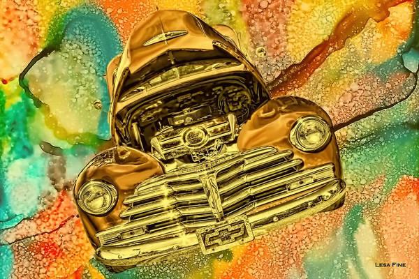 Photograph - 1948 Chev Gold Tie Dye Tilt Car Art by Lesa Fine