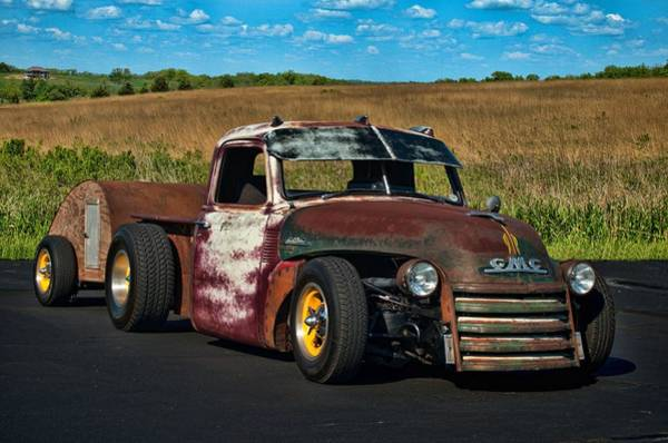 Photograph - 1948 Gmc 4100 Rat Rod Pickup With Trailer by Tim McCullough