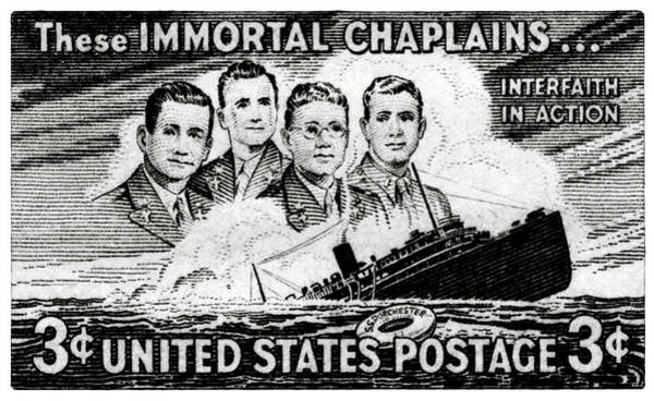 In Service Painting - 1948 Immortal Chaplains Stamp by Historic Image