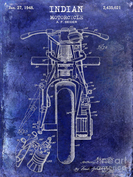 Victory Motorcycle Photograph - 1948 Indian Motorcycle Patent Drawing Blue by Jon Neidert