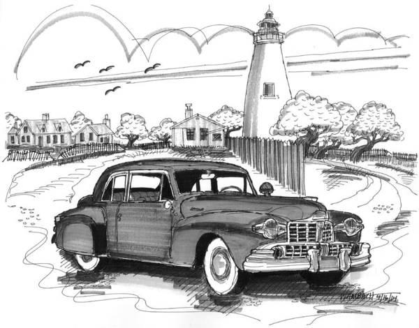 Drawing - 1948 Lincoln Continental by Richard Wambach