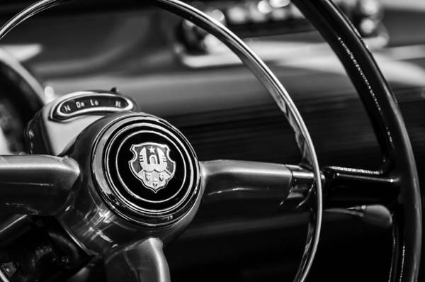 Photograph - 1948 Oldsmobile 98 Convertible Steering Wheel Emblem -0901bw by Jill Reger