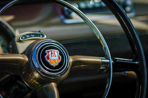 Photograph - 1948 Oldsmobile 98 Convertible Steering Wheel Emblem -0901c by Jill Reger