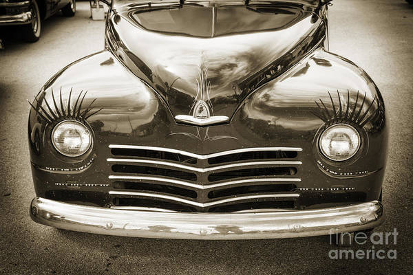 Photograph - 1948 Plymouth Classic Car Front End In Black And White Sepia 338 by M K Miller