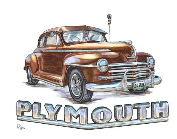 Hot Rod Drawing - 1948 Plymouth by Shannon Watts