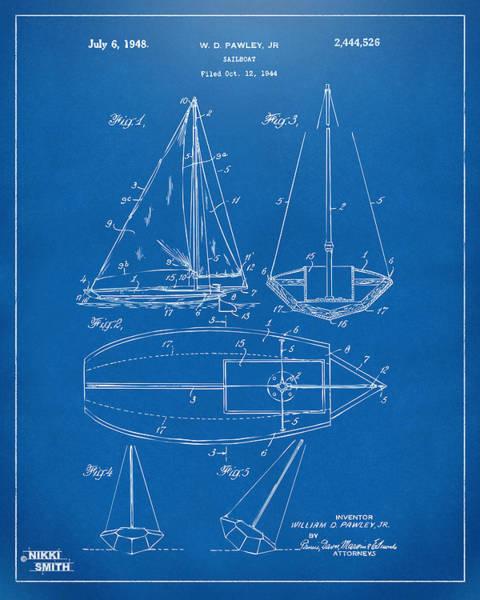 Sailors Digital Art - 1948 Sailboat Patent Artwork - Blueprint by Nikki Marie Smith