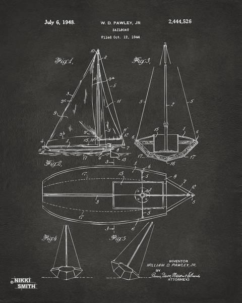 Sailors Digital Art - 1948 Sailboat Patent Artwork - Gray by Nikki Marie Smith