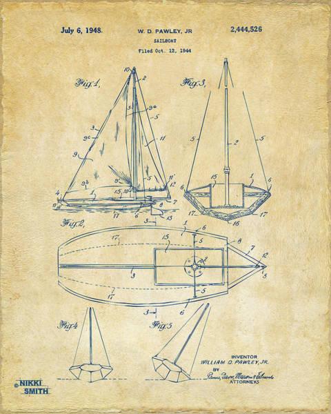 Sailors Digital Art - 1948 Sailboat Patent Artwork - Vintage by Nikki Marie Smith